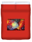 Abstract Art Whimsical Landscape Painting Morning Bliss By Madart Duvet Cover