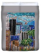 Los Angeles. Rhinestone Mosaic With Beadwork Duvet Cover