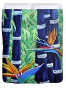 Abstract Bamboo And Birds Of Paradise 04 Duvet Cover
