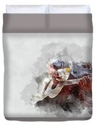Abstract Beautiful Playing Guitar In The Foreground On Watercolor Painting Background. Duvet Cover
