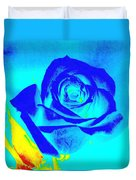 Single Blue Rose Abstract Duvet Cover