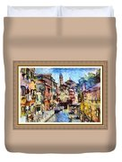 Abstract Canal Scene In Venice L A S With Decorative Ornate Printed Frame. Duvet Cover