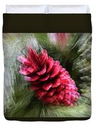 Abstract Christmas Card - Red Pine Cone Blast Duvet Cover