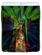 Abstract City In Green Duvet Cover