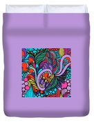 Abstract Colorful Floral Design Duvet Cover