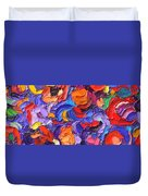 Abstract Colorful Flowers Impasto Palette Knife Modern Impressionist Oil Painting Ana Maria Edulescu Duvet Cover