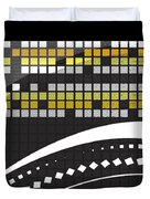 Abstract Crossword Puzzle Squares On Black Duvet Cover