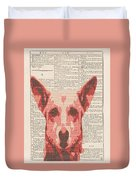 Abstract Dog On Dictionary Duvet Cover