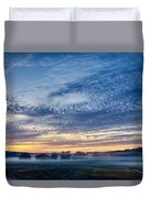 Abstract Early Morning Sunrise Over Farm Land Duvet Cover