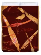 Abstract Feathers Falling On Brown Background Duvet Cover