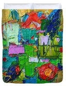 Abstract Flowers On Gold Contemporary Impressionist Palette Knife Oil Painting By Ana Maria Edulescu Duvet Cover