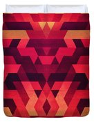 Abstract  Geometric Triangle Texture Pattern Design In Diabolic Future Red Duvet Cover by Philipp Rietz