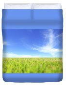 Abstract Green Field And Blue Sky Duvet Cover