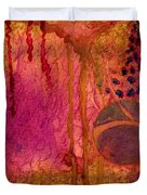 Abstract In Gold And Plum Duvet Cover