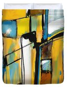 Abstract In Yellow And Blue Duvet Cover
