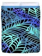 Abstract Leaves Black Aqua Duvet Cover