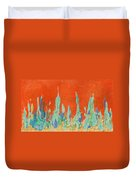 Abstract Mirage Cityscape In Orange Duvet Cover by Julia Apostolova