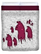 Abstract Monster Cut-out Series - Red Rally Duvet Cover