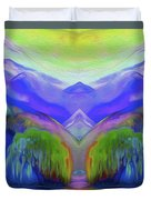 Abstract Mountains By Nixo Duvet Cover
