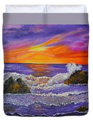 Abstract Ocean- Oil Painting- Puple Mist- Seascape Painting Duvet Cover