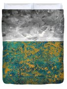 Abstract Original Painting Contemporary Metallic Gold And Teal With Gray Madart Duvet Cover