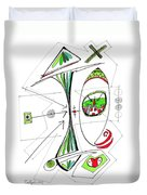 Abstract Pen Drawing Seventy-six Duvet Cover