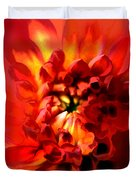 Abstract Red Chrysanthemum Duvet Cover