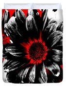 Abstract Red White And Black Daisy Duvet Cover