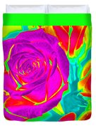Blooming Roses Abstract Duvet Cover