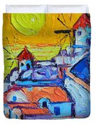 Abstract Santorini Sunset Oia Windmills  Duvet Cover