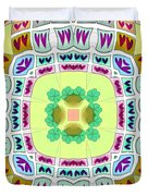 Abstract Seamless Pattern  - Yellow Green Blue Purple White Gray Duvet Cover