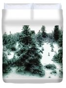 Abstract Snowy Trees Lighter Duvet Cover