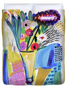 Abstract Still Life With Flowers Duvet Cover