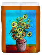Abstract Sunflowers W/vase Duvet Cover