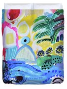 Abstract Tropical Landscape Duvet Cover