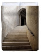 Abstract View Of Stone Curved Staircase At The World War I Monum Duvet Cover