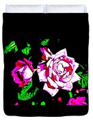 Abstract White Red And Pink Roses Duvet Cover
