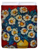 Abstract Wild White Roses Original Oil Painting Duvet Cover