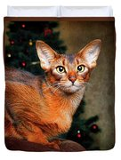 Abyssinian Cat In Christmas Tree Background Duvet Cover