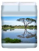 Acacia Tree Reflection Duvet Cover