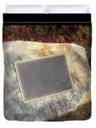 Acadia National Park Centennial Plaque Duvet Cover