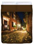 Acorn Street Autumn Boston Mass Painterly Duvet Cover