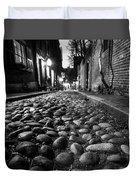 Acorn Street Cobblestone Detail Boston Ma Black And White Duvet Cover