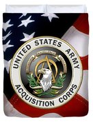 Acquisition Corps - A A C Branch Insignia Over U. S. Flag Duvet Cover