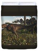 Acrocanthosaurus Dinosaur Roaming Duvet Cover