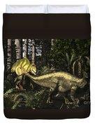 Acrocanthosaurus Hunting Tenontosaurus Duvet Cover