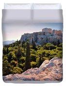 Acropolis In The Morning Light Duvet Cover