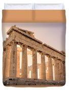 Acropolis Parthenon At Sunset Duvet Cover