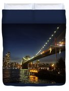 Across The Brooklyn Bridge To Manhattan At Night Duvet Cover