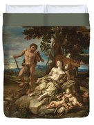 Adam And Eve With The Infants Cain And Abel Duvet Cover